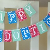 """Happy Adoption Day"" Reusable Paper Banner"